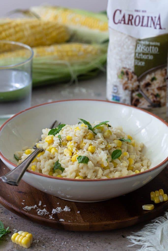 A bowl of corn risotto.