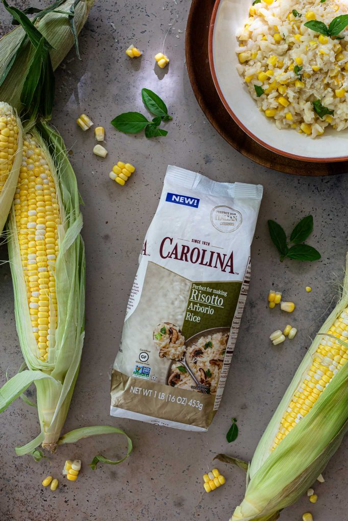 A shot of the package of Carolina Arborio Rice.