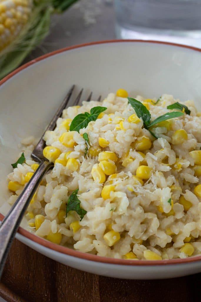 A close-up photo of corn risotto.