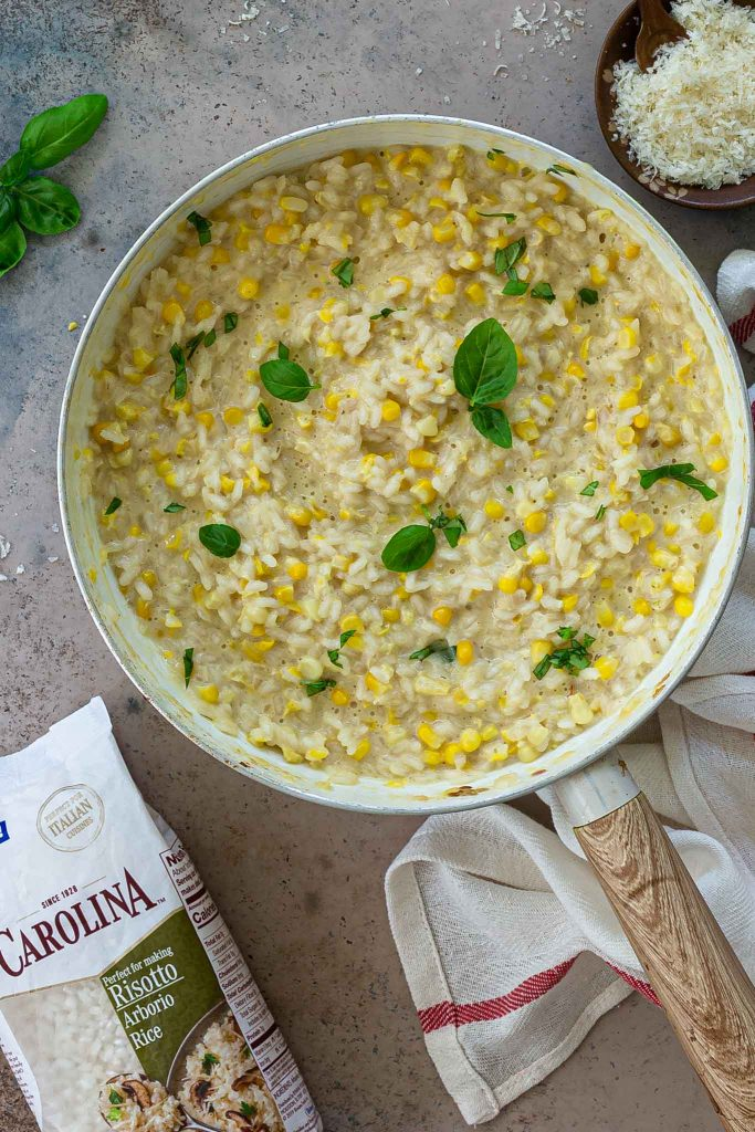 A pan of creamy corn risotto.
