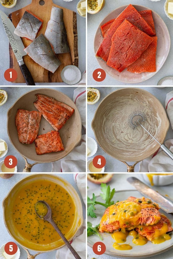 A collage of step by step photos to make the pan fried salmon recipe.