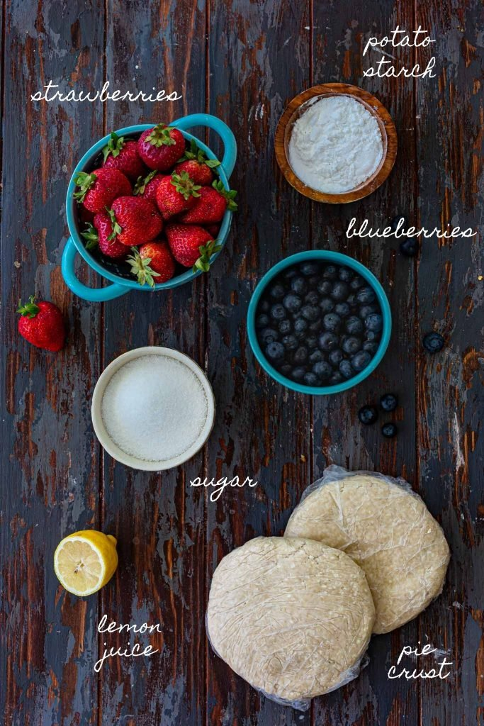 Ingredients for berry pie.
