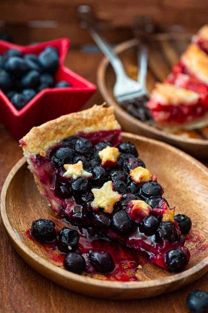 A slice of blueberry pie.