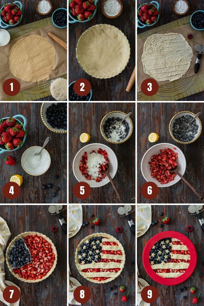 Step by step instructions to make patriotic berry pie.