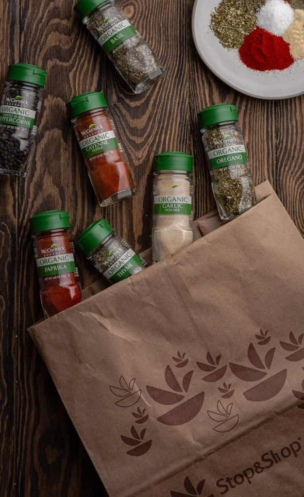 A photo of a Stop & Shop bags and all the McCormick spices.