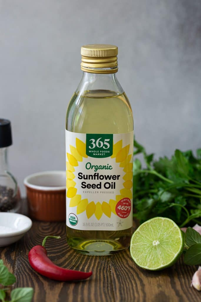 A bottle of sunflower seed oil.
