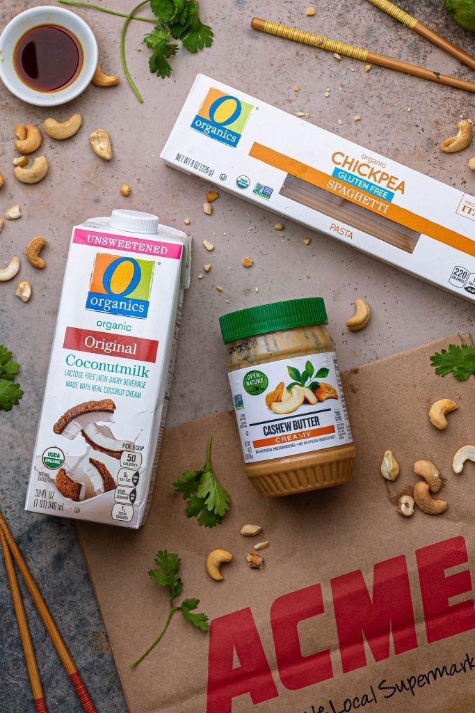 A photo of O Organics Coconutmilk, O Organics Chickpea Spaghetti and Open Nature Cashew Butter.
