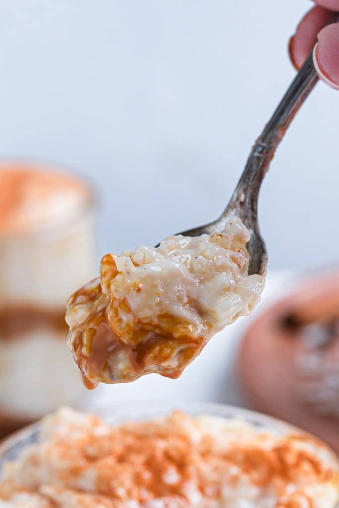 A spoonful of dulce de Leche rice pudding.
