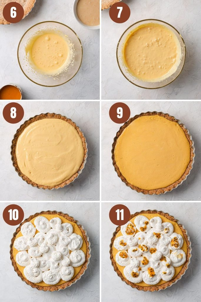 A collage of photos of the step by step instructions for the filling and topping.