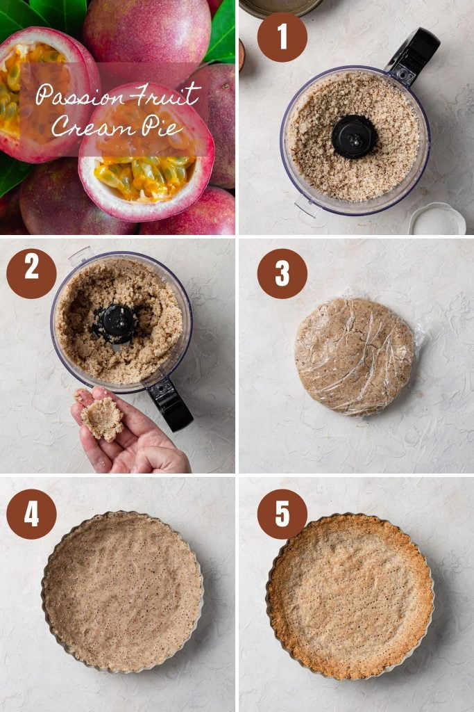 A collage of photos of the step by step instructions for the crust.