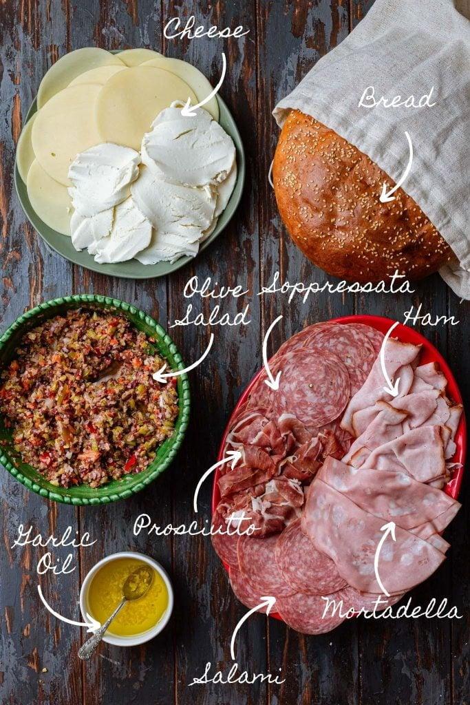 Photo of the Muffuletta ingredients.