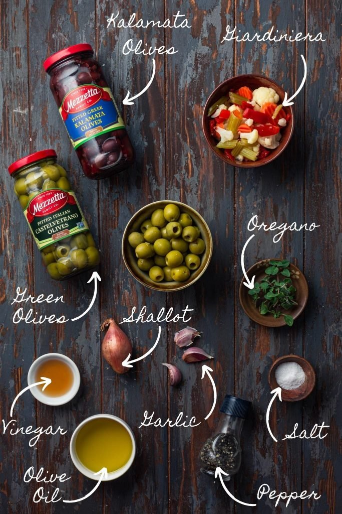 Photo of the olive salad ingredients.