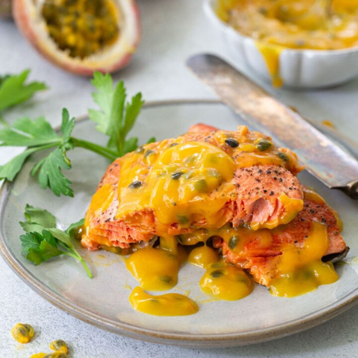 Pan Fried Salmon with Passion Fruit Sauce