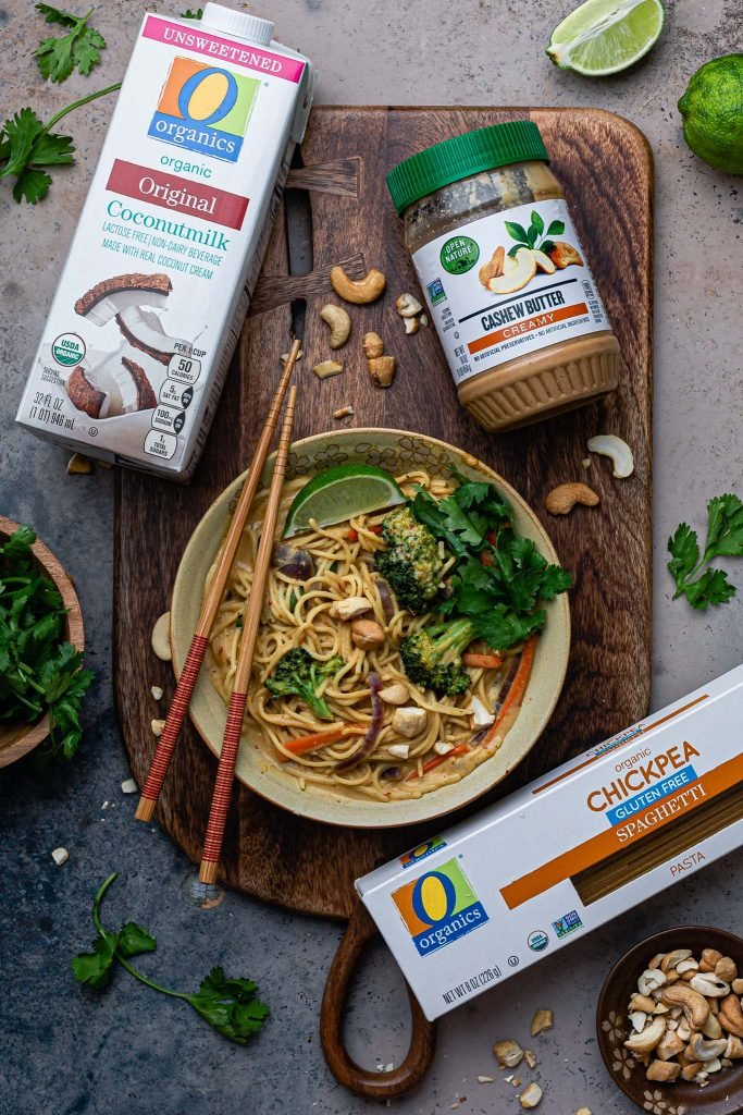 Overhead photo of the cashew noodles plus the sponsor ingredients.