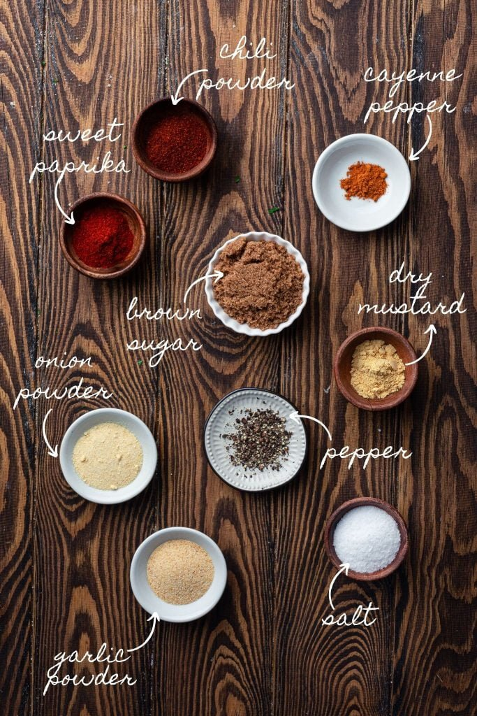 Ingredients for dry steak rub.