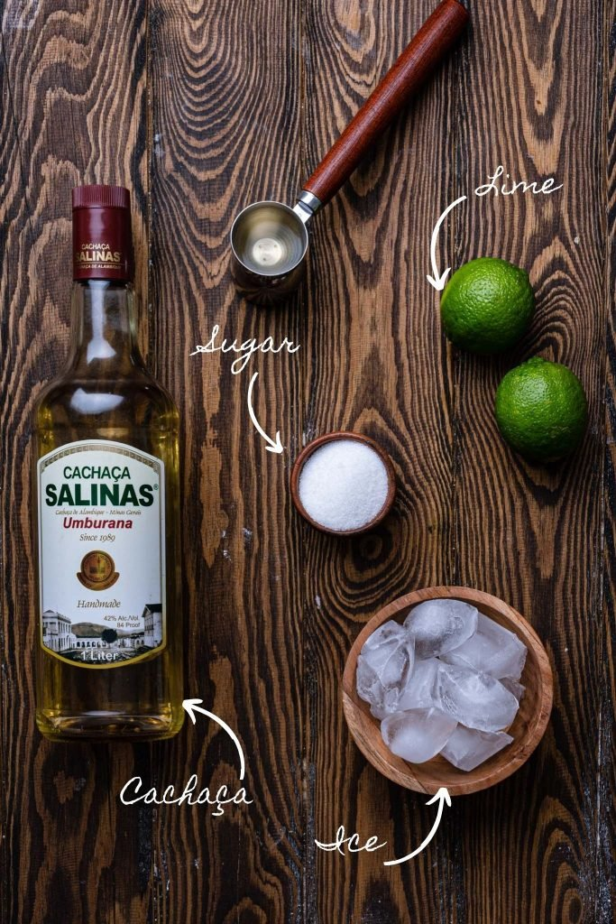 A photo of the ingredients: cachaça, ice, limes and sugar.