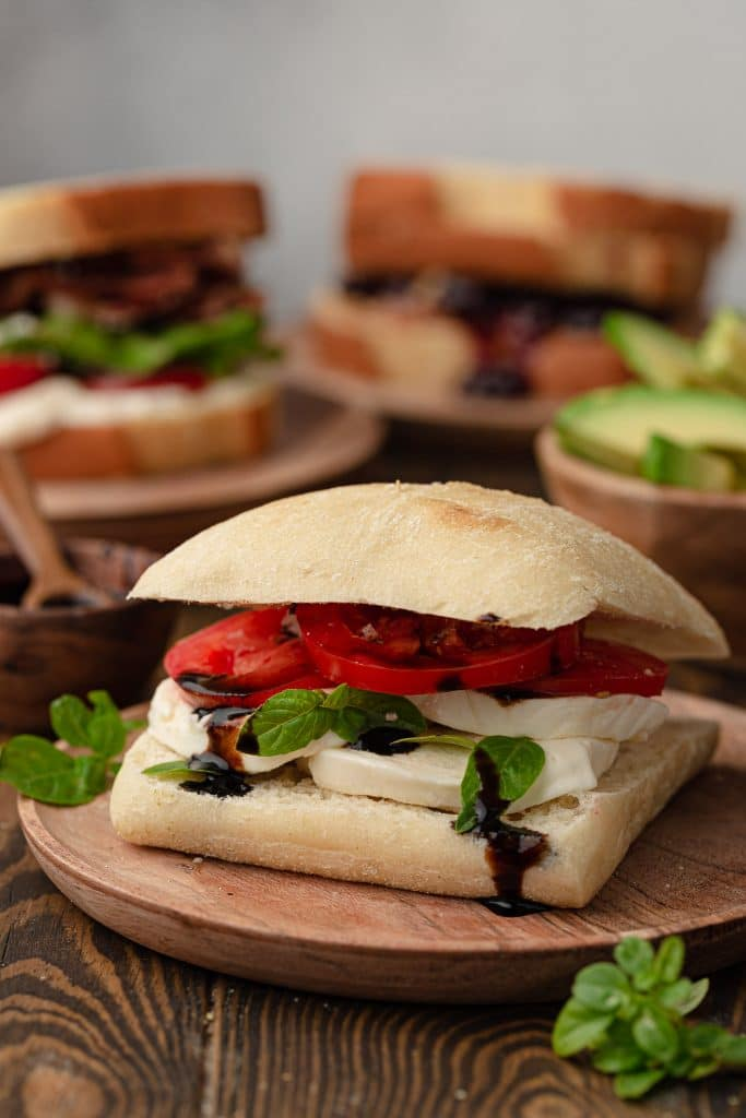 A Caprese sandwich on ciabatta.