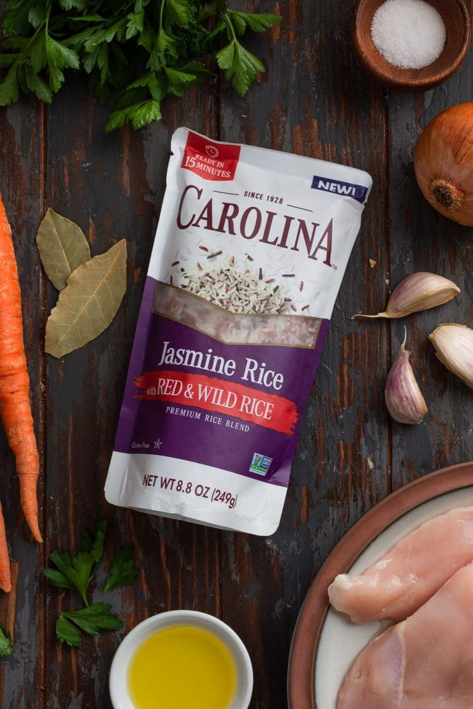 A photo of Carolina Jasmine Rice with Red and Wild Rice package.