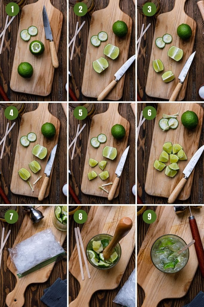 A collage of step by step photos on how to make a caipirinha.