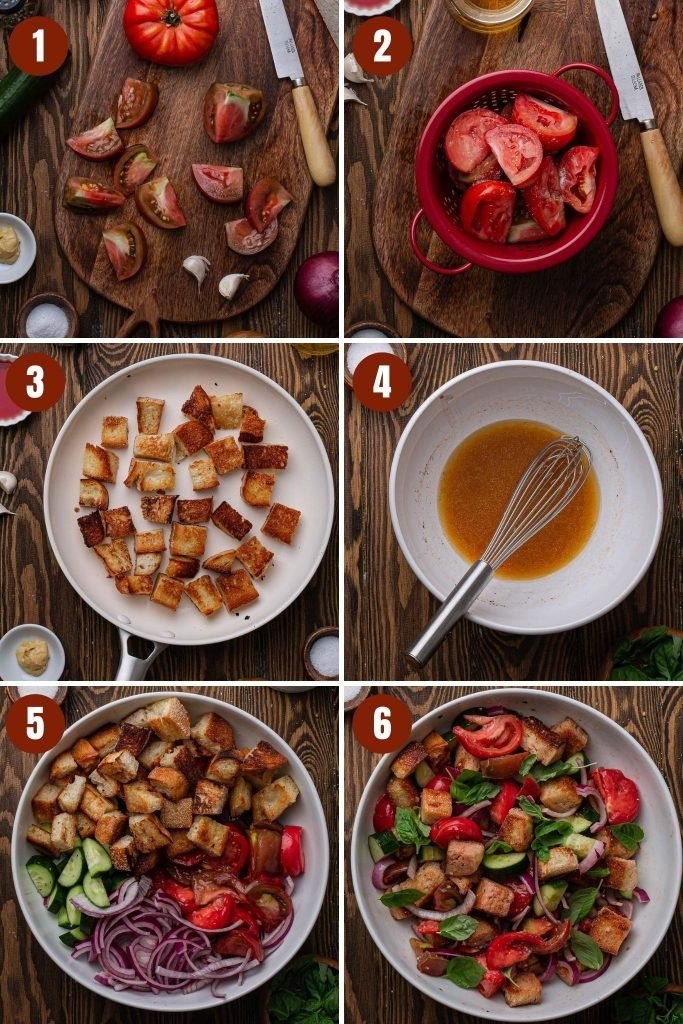 A collage of step by step photos on how to make panzanella salad.