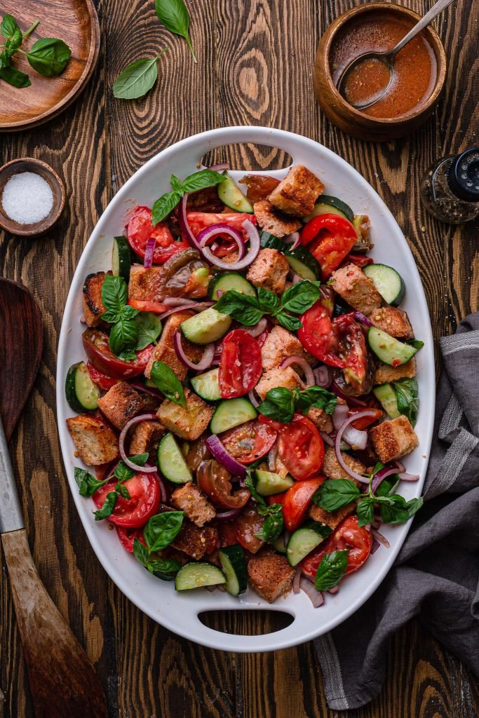 A platter of panzanella salad.