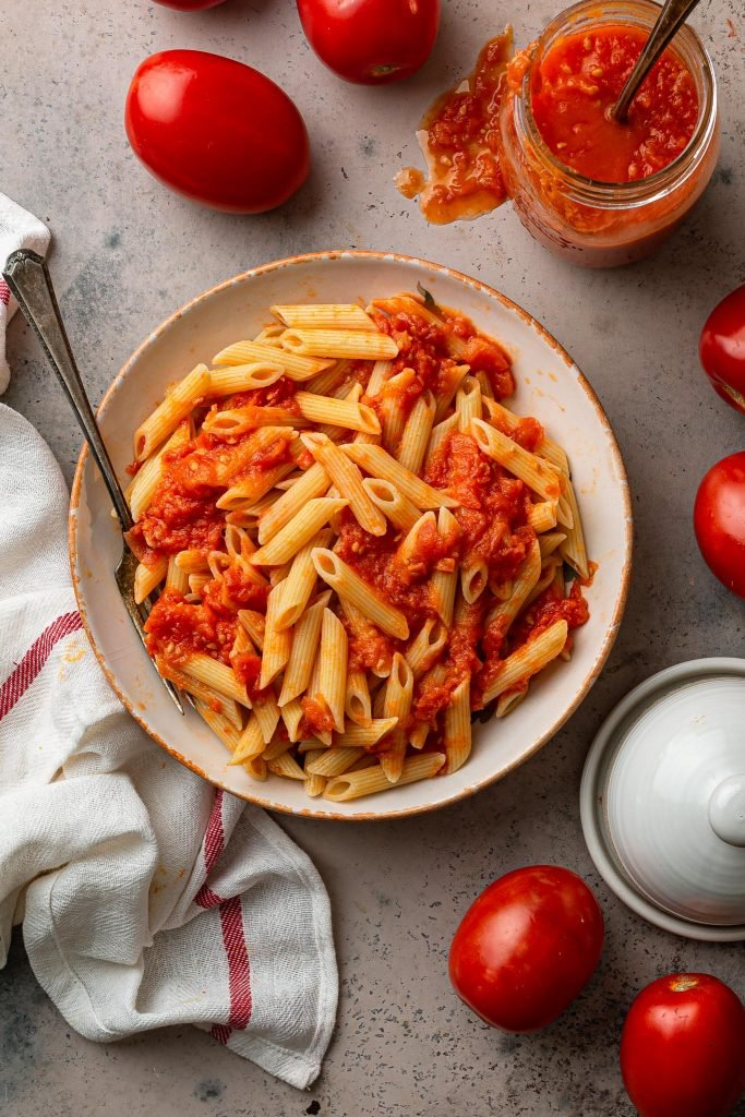 Penne with homemade tomato sauce.