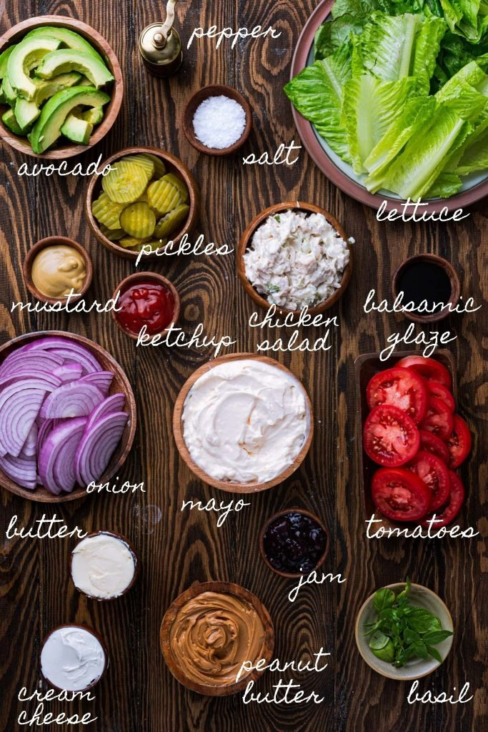 Several options for toppings, spreads and seasonings.