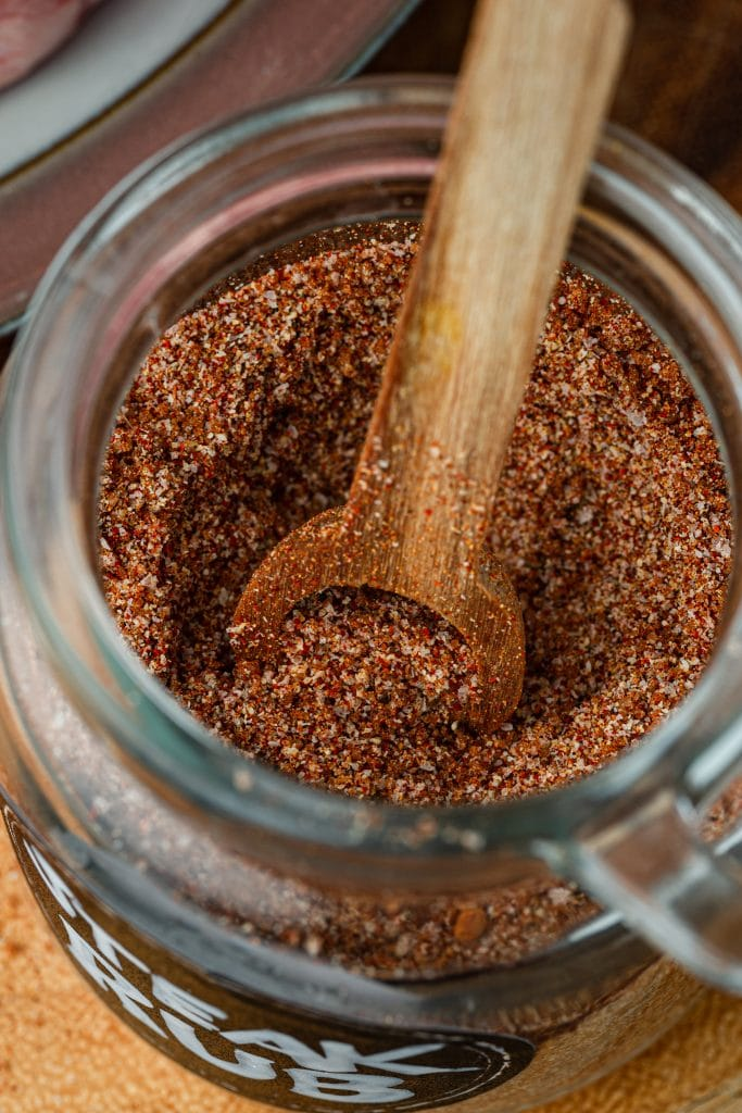 A close up shot of steak seasoning.