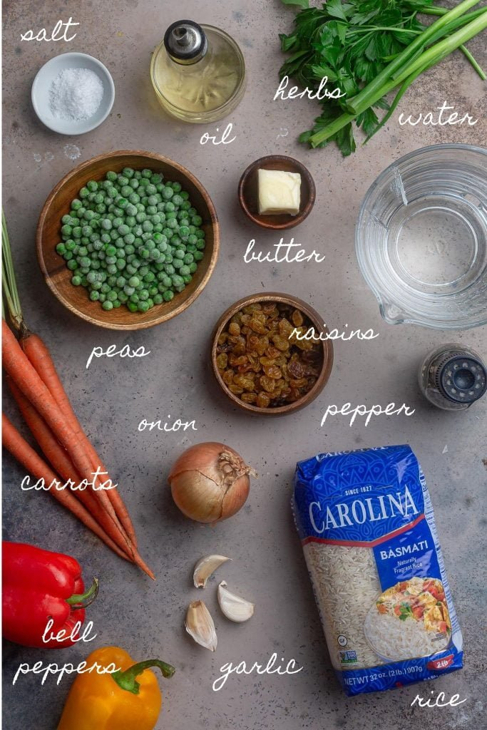 A photo of the ingredients for Brazilian Greek Rice Pilaf.