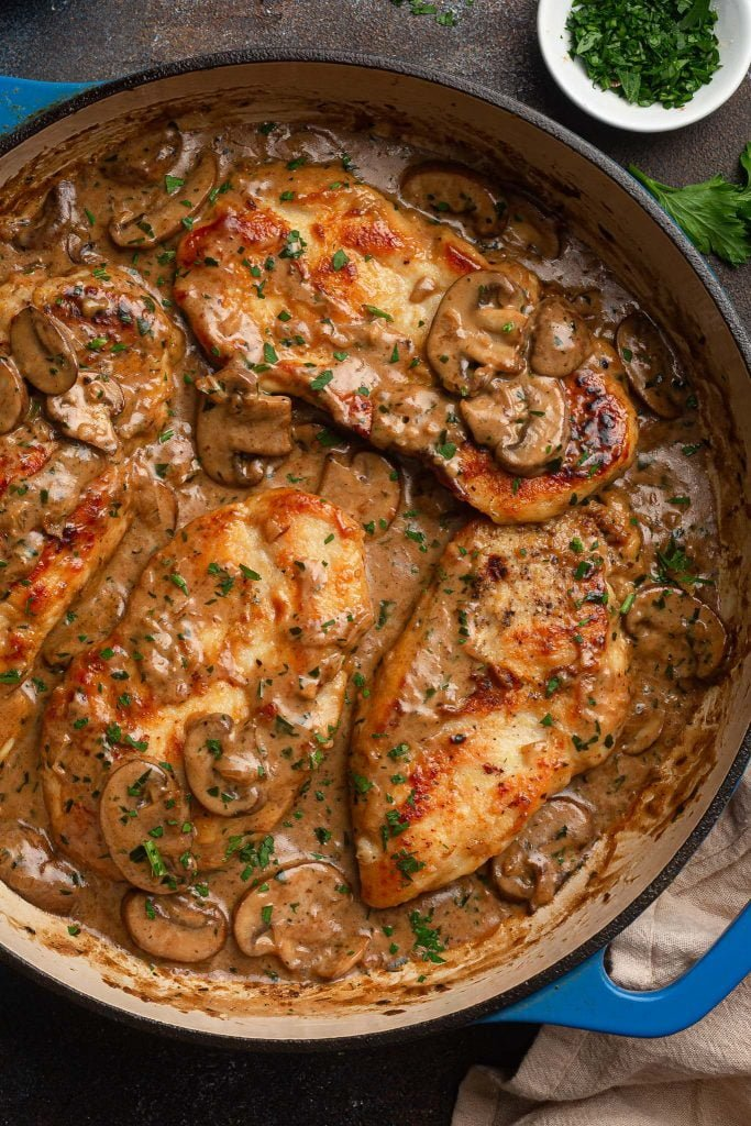 Chicken Marsala in a pan.