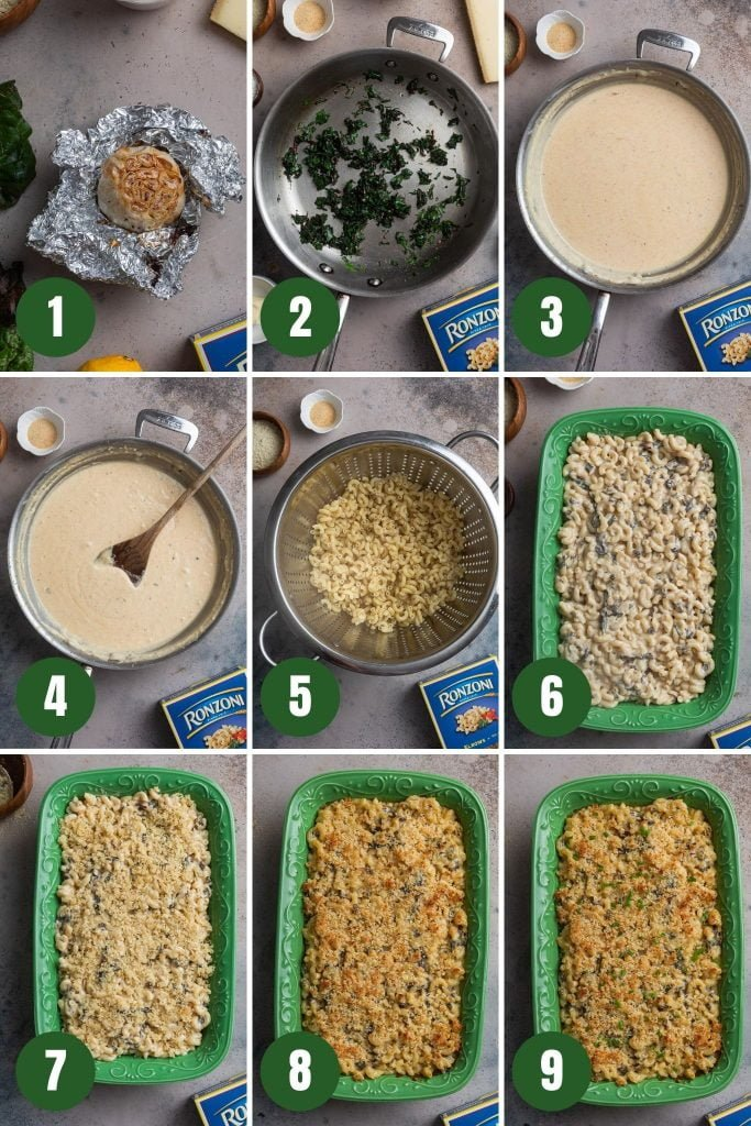 A collage of step by step photos that illustrate how to make this roasted garlic mac and cheese.