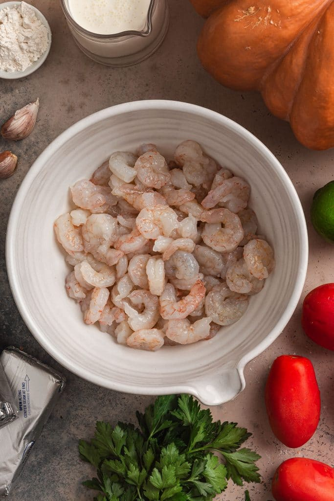 Thawed shrimp in a bowl.