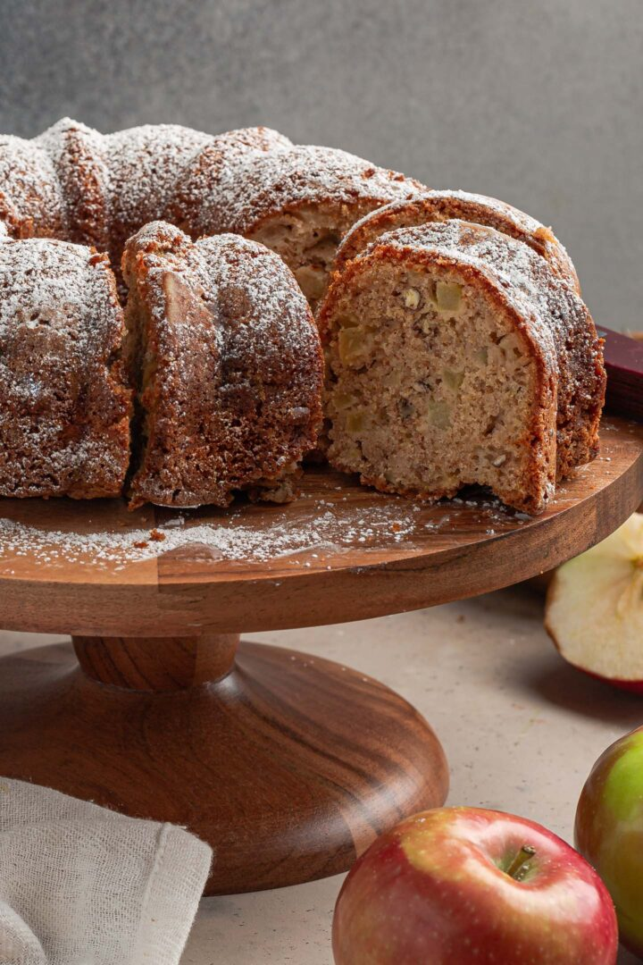 A close up photo of the apple cake.