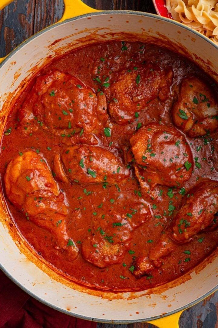 A pot of Chicken Paprikash.