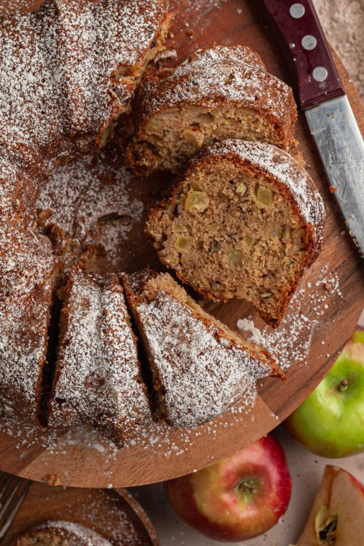 An overhead close up picture of the apple cake.