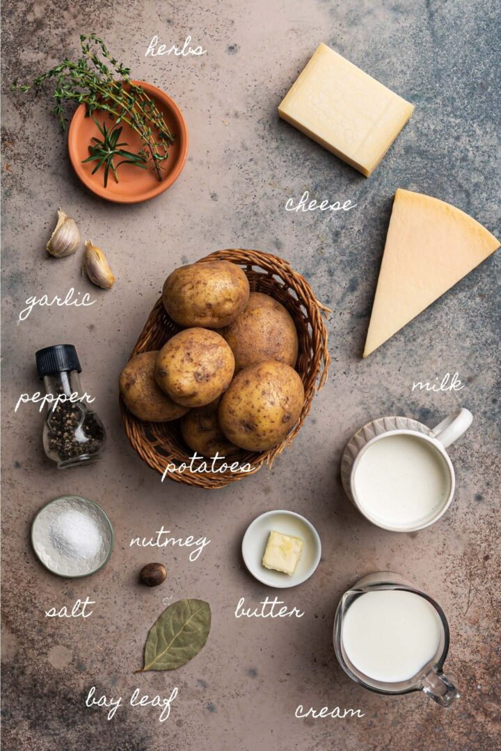 A photo of all the ingredients to make tGratin Dauphinois.