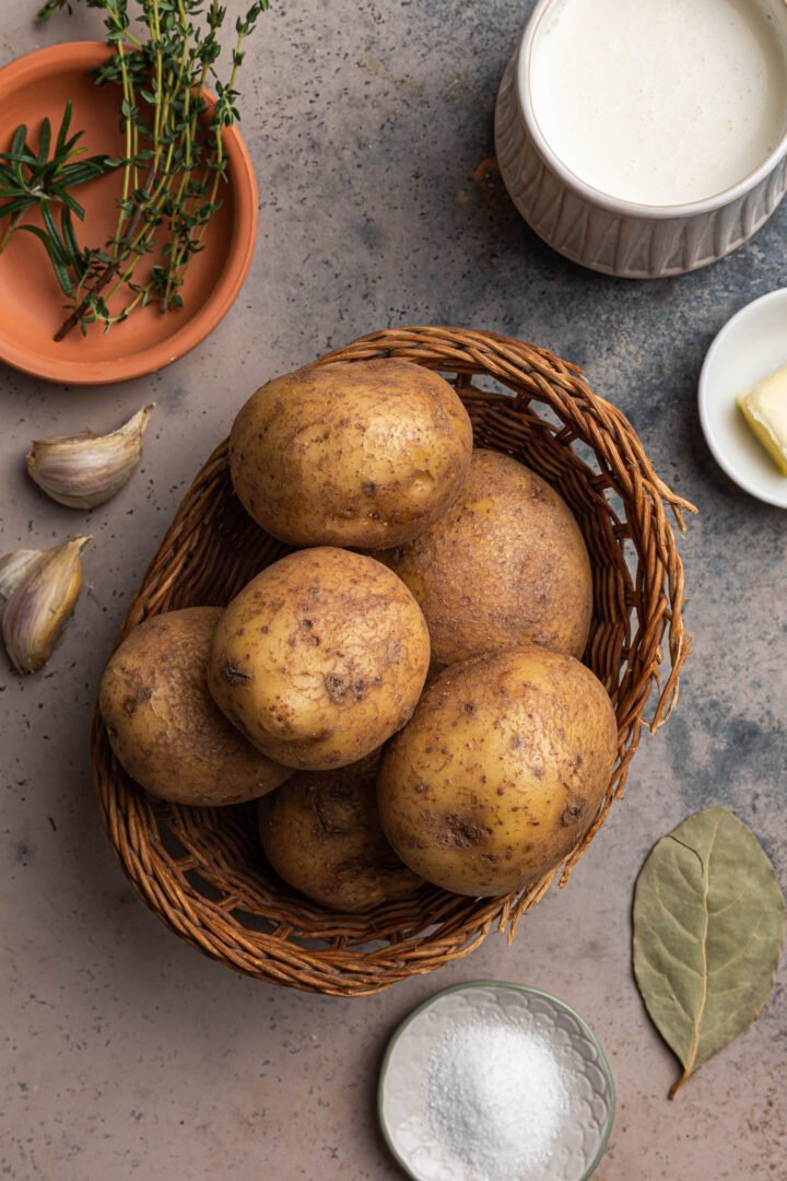 A photo of Yukon Gold potatoes plus some of the other ingredients.