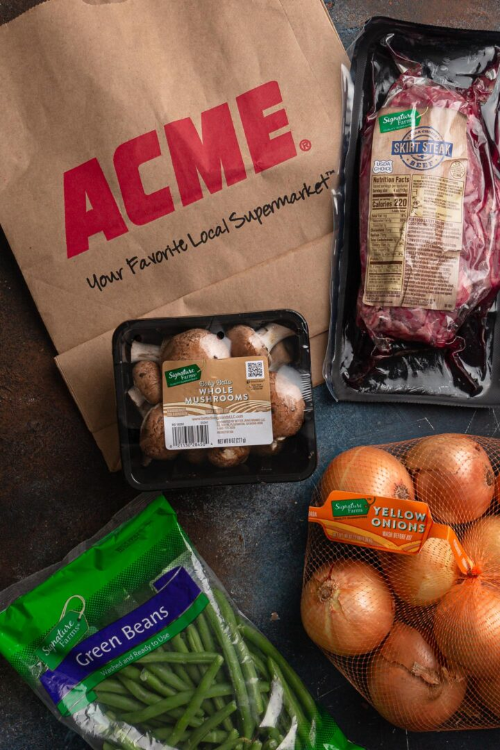 Signature Farms products and ACME bag.