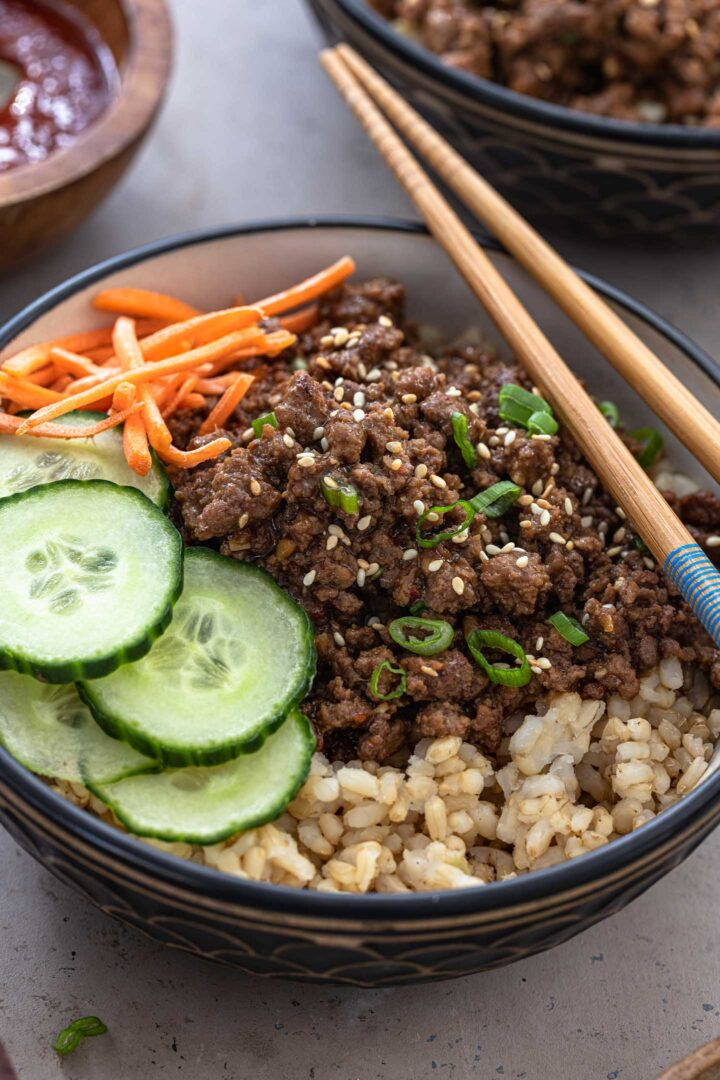 A close up shot of a Korean Beef Bowl.