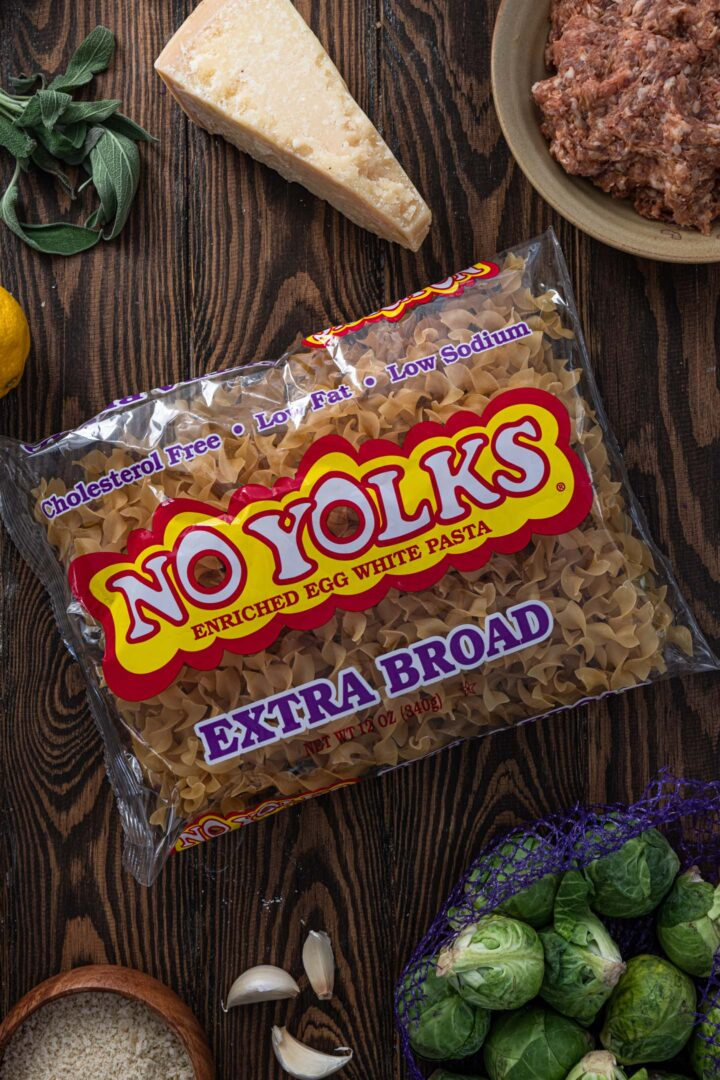 A package of No Yolks extra-broad.