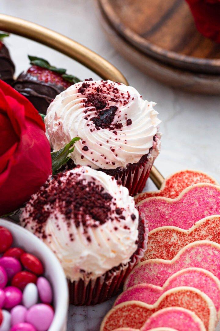 Red Velvet Cupcakes on a dessert board.