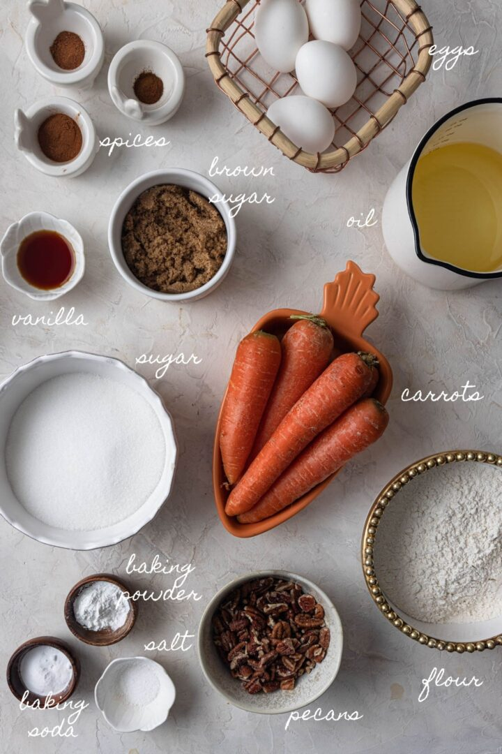 A photo of all the ingredients to make carrot cake.