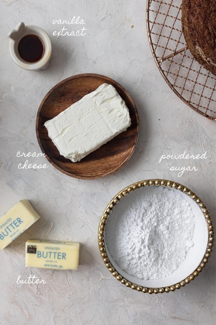 A photo of the ingredients to make cream cheese frosting.