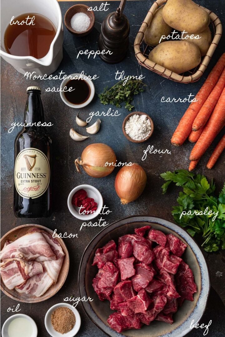 A photo of all the ingredients to make Irish beef stew.