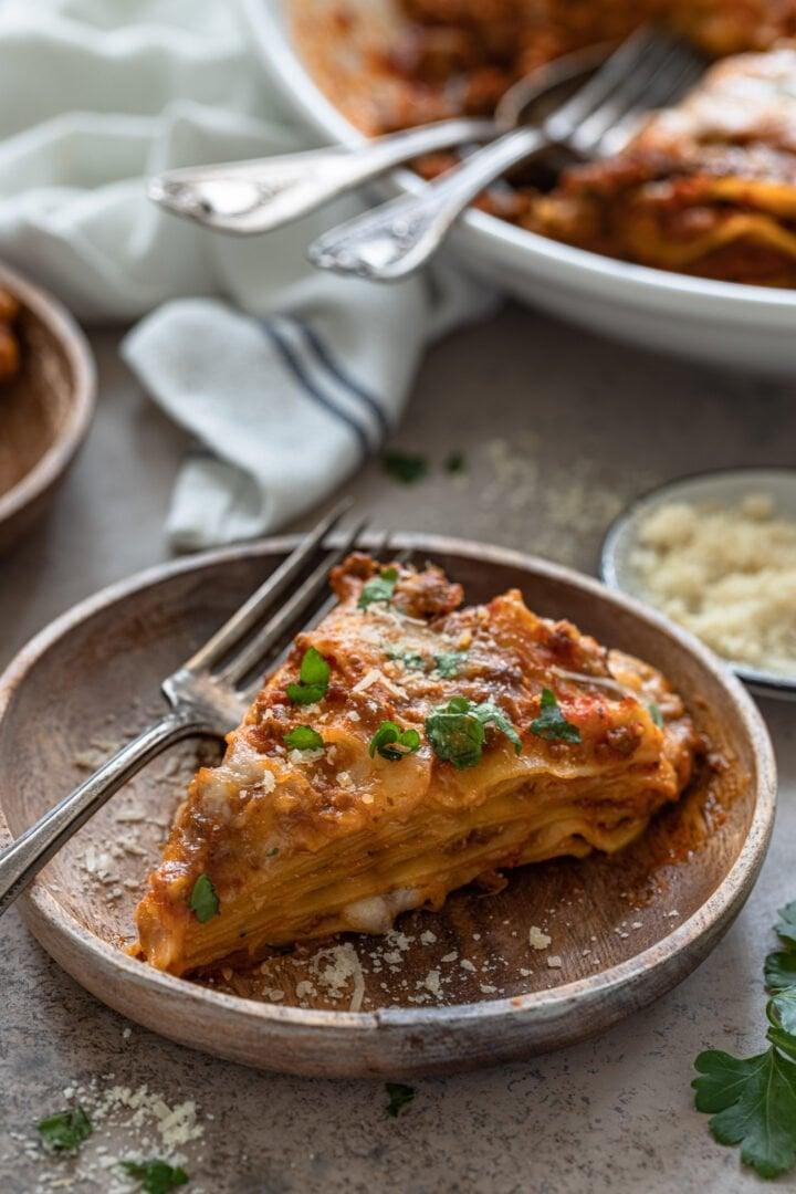 A slice of pressure cooker lasagna.