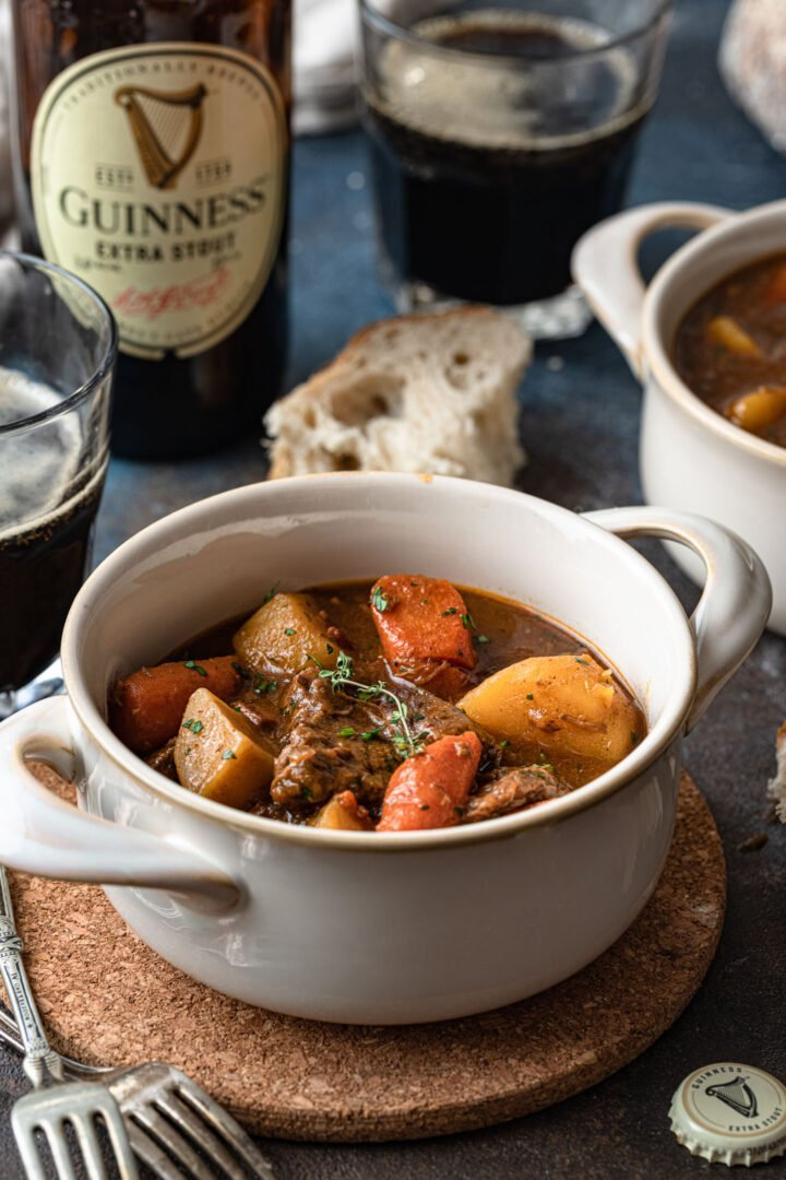 A bowl of Guinness beef stew.