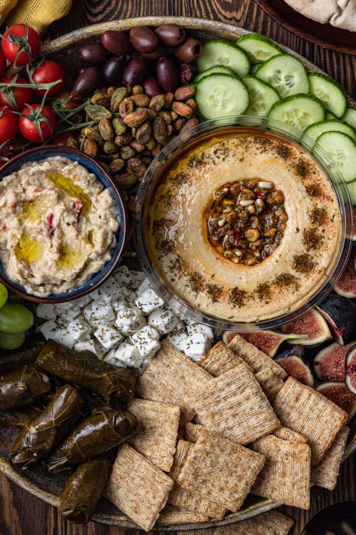 Mezze platter close up.