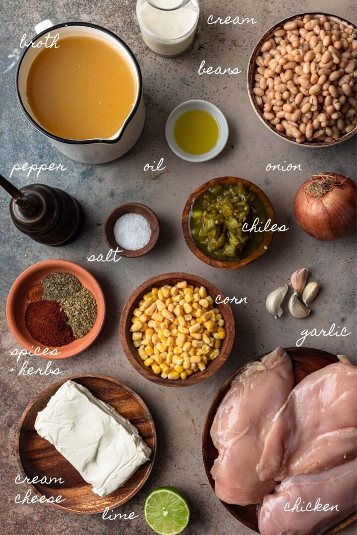A photo of all the ingredients you'll need to make this white chicken chili recipe.