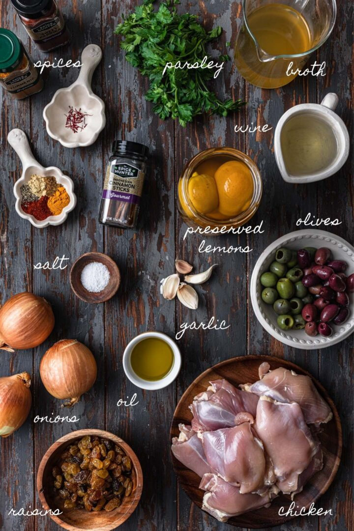 A photo of all the ingredients to make chicken tagine.