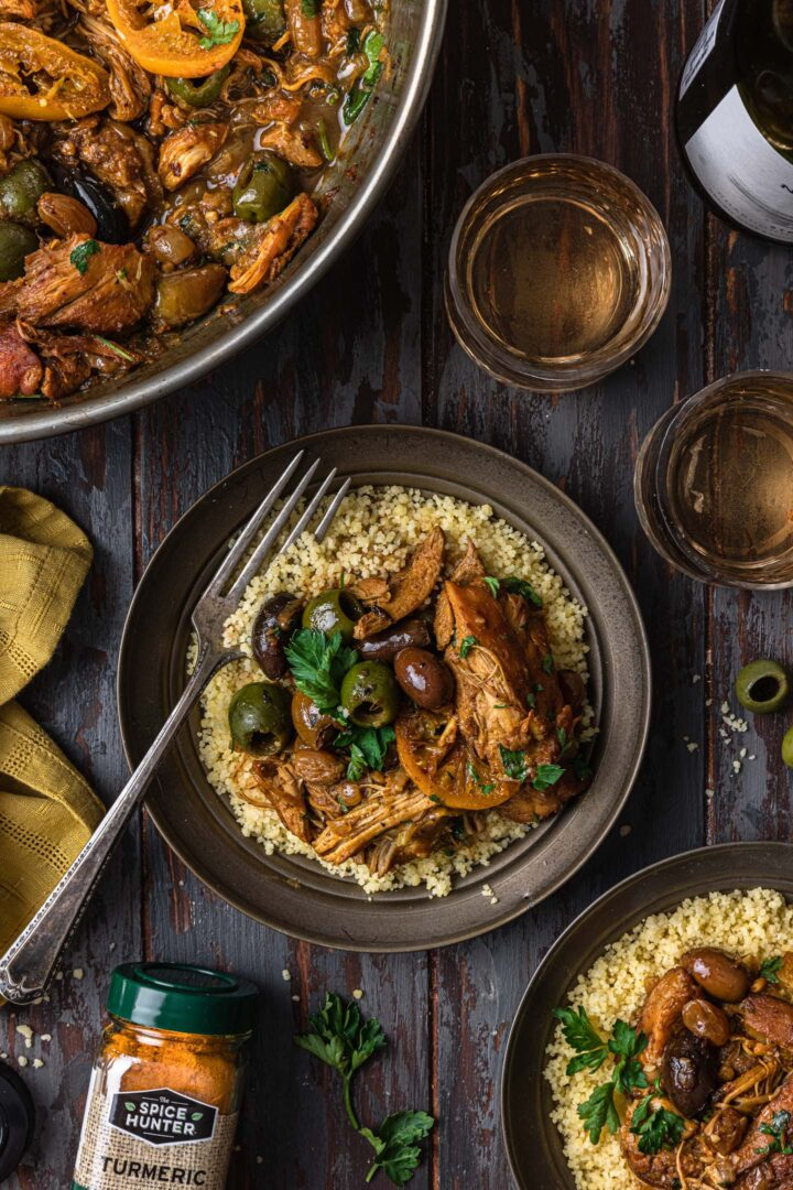 One serving of Moroccan Chicken Tagine.